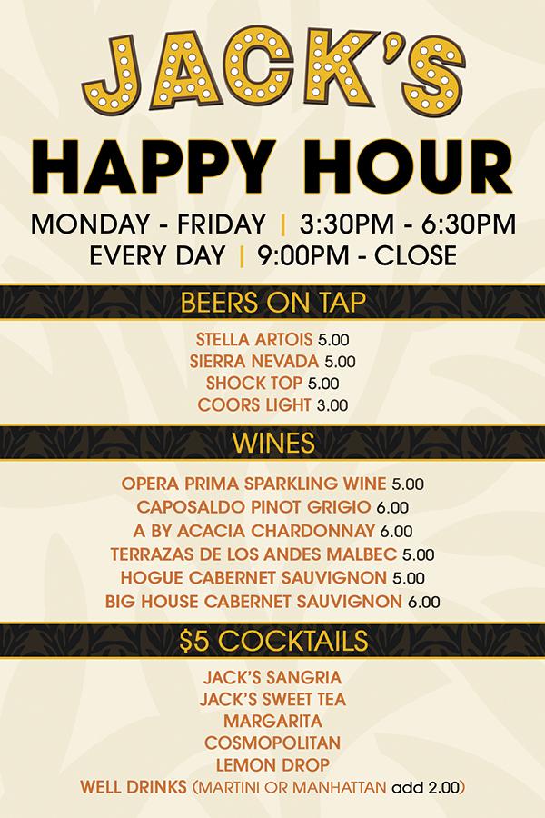 Happy Hour Jacks Restaurant Bar